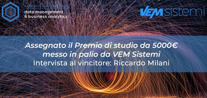 Assegnato il Premio di Studio da 5000€ offerto da VEM Sistemi